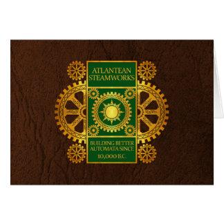 Atlantean Steamworks - Gold & Green on Brown Card