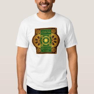 Atlantean Steamworks - Gold & Green on Brown Tee Shirt