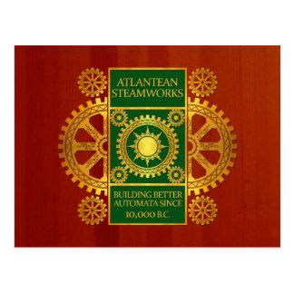 Atlantean Steamworks - Gold & Green on Cherrywood Postcard