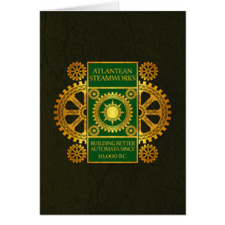 Atlantean Steamworks-Gold & Green on Green Leather Card