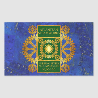 Atlantean Steamworks - Gold & Green on Lapis Lazul Rectangular Sticker