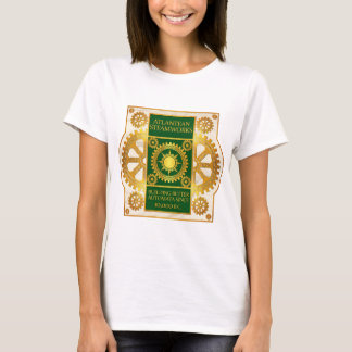 Atlantean Steamworks-Gold & Green on White Marble T-Shirt