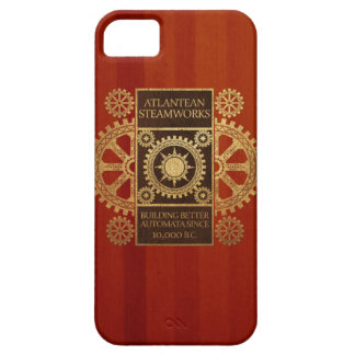 Atlantean Steamworks - Gold & Leather on Wood iPhone 5 Covers