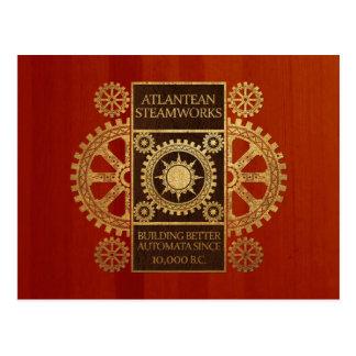 Atlantean Steamworks - Gold & Leather on Wood Postcard