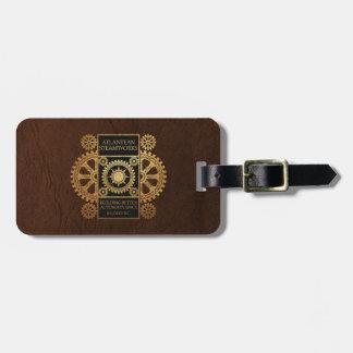 Atlantean Steamworks - Gold on Black & Brown Luggage Tag