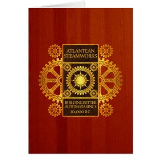 Atlantean Steamworks - Gold on Cherrywood Card