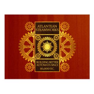 Atlantean Steamworks - Gold on Cherrywood Postcard