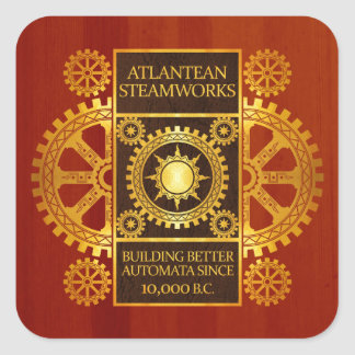 Atlantean Steamworks - Gold on Cherrywood Square Sticker