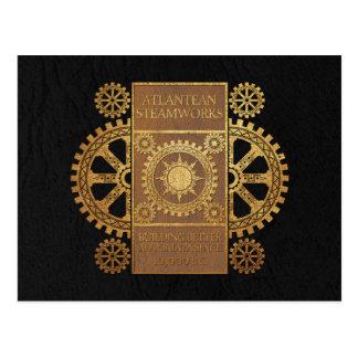 Atlantean Steamworks - Gold on Tan & Black Postcard