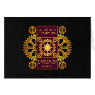 Atlantean Steamworks - Gold & Purple on Black Card