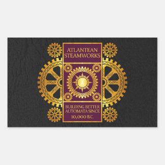 Atlantean Steamworks - Gold & Purple on Black Rectangular Sticker