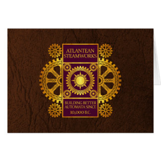 Atlantean Steamworks - Gold & Purple on Brown Card