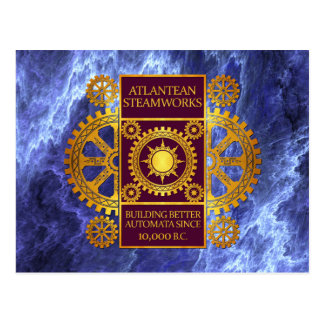Atlantean Steamworks-Gold & Purple on Marble Postcard