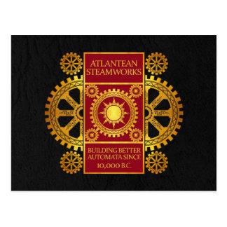Atlantean Steamworks - Gold & Red on Black Postcard