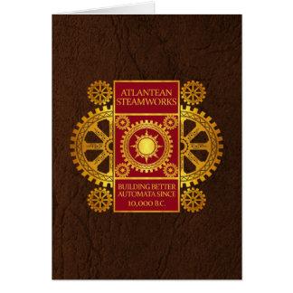 Atlantean Steamworks - Gold & Red on Brown Card