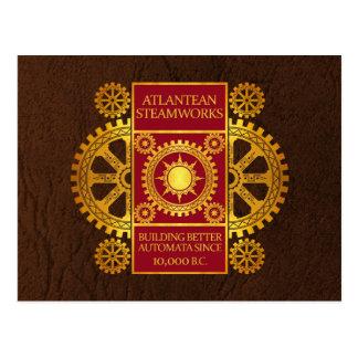 Atlantean Steamworks - Gold & Red on Brown Postcard