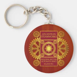 Atlantean Steamworks - Gold & Red on Cherrywood Basic Round Button Keychain