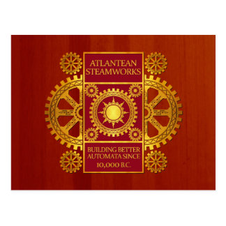 Atlantean Steamworks - Gold & Red on Cherrywood Postcard