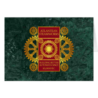 Atlantean Steamworks - Gold & Red on Green Marble Card