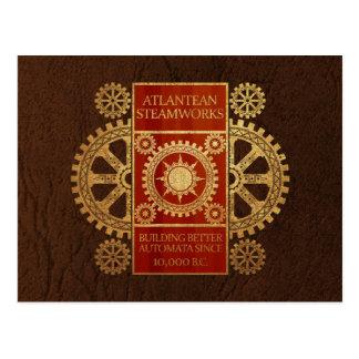 Atlantean Steamworks - Gold & Wood on Leather Postcard