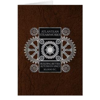 Atlantean Steamworks - Silver on Black & Brown Card