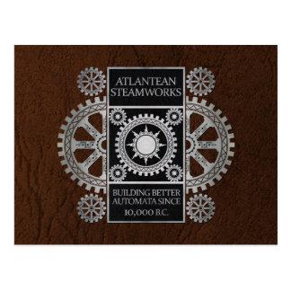 Atlantean Steamworks - Silver on Black & Brown Postcard