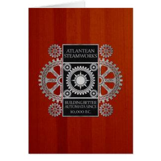 Atlantean Steamworks- Silver on Black & Cherrywood Card