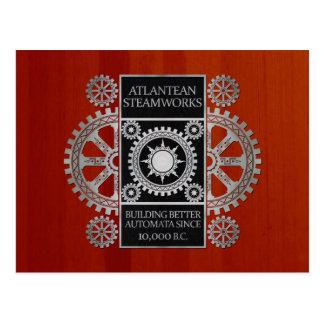 Atlantean Steamworks- Silver on Black & Cherrywood Postcard