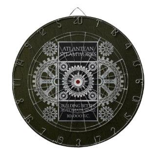 Atlantean Steamworks - Silver on Black & Green Dart Board