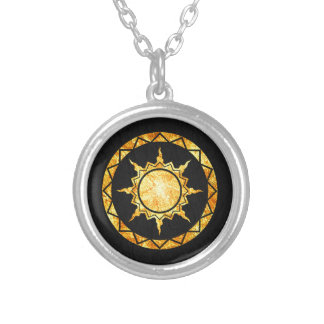 Atlantean Sun on Black Leather Necklaces