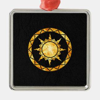 Atlantean Sun on Black Leather Ornament