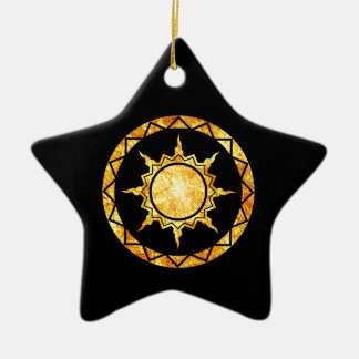 Atlantean Sun on Black Christmas Ornaments