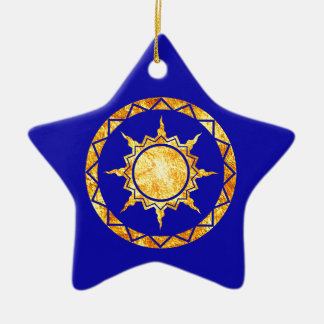 Atlantean Sun on Blue Field Christmas Tree Ornaments
