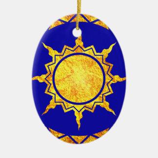 Atlantean Sun on Blue Christmas Ornaments