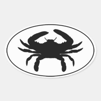 Atlantic Blue Crab Euro Style Oval Sticker Logo