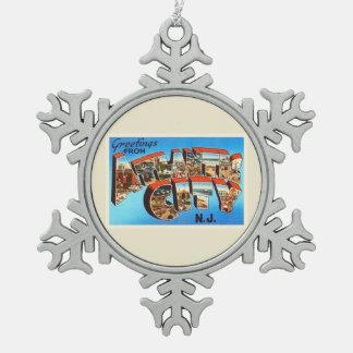 Atlantic City 1 viaje del vintage de New Jersey NJ Adorno De Peltre En Forma De Copo De Nieve