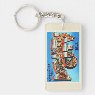 Atlantic City 1 viaje del vintage de New Jersey NJ Llavero Rectangular Acrílico A Doble Cara