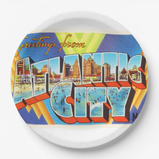 Atlantic City 2 New Jersey NJ Vintage Travel - Paper Plate