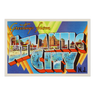 Atlantic City 2 New Jersey NJ Vintage Travel - Poster