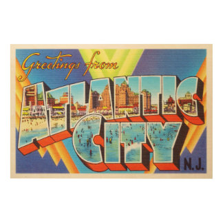 Atlantic City 2 New Jersey NJ Vintage Travel - Wood Wall Art