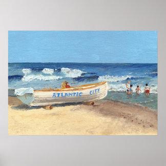 Atlantic City Beach Painting Poster