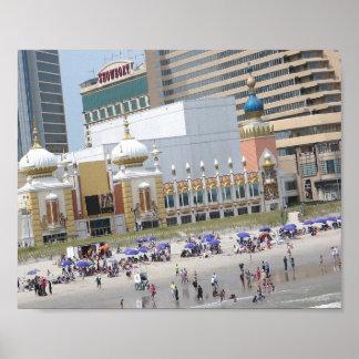 Atlantic city board walk beach Taj Palace Hotel Poster