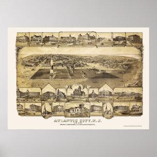 Atlantic City, mapa panorámico de NJ - 1880 Posters