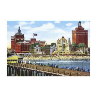 Atlantic City New Jersey Along the Shoreline Stretched Canvas Print