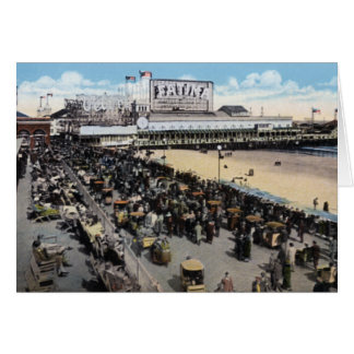 Atlantic City New Jersey Boardwalk and Steeplechas Greeting Card