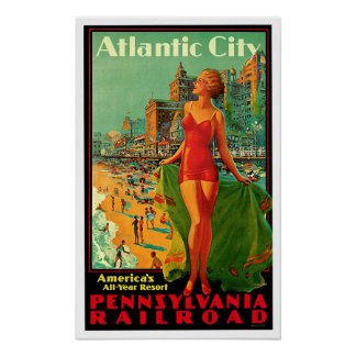 Atlantic City New Jersey Girl Vintage Travel Poster