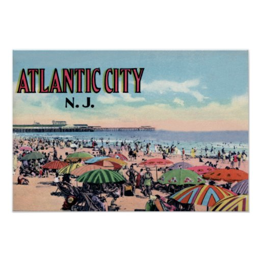 Atlantic City New Jersey Large Letter Greetings Print