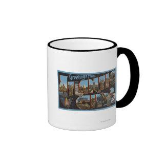 Atlantic City, New Jersey - Large Letter Scenes 2 Coffee Mugs