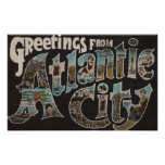 Atlantic City, New Jersey - Large Letter Scenes 3 Print