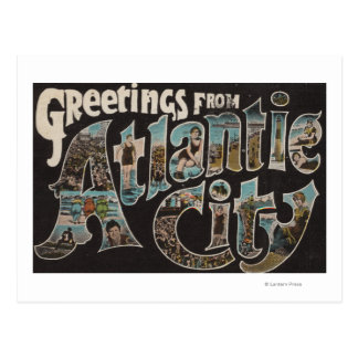 Atlantic City, New Jersey - Large Letter Scenes Postcard